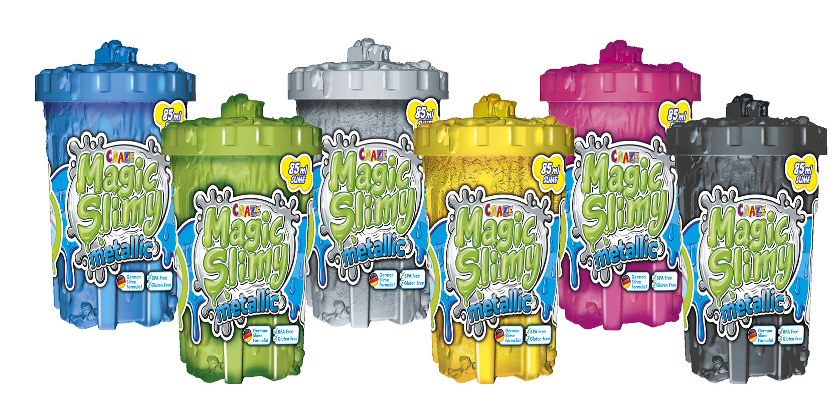 MAGIC SLIME Metallic 85g - 6er Pack